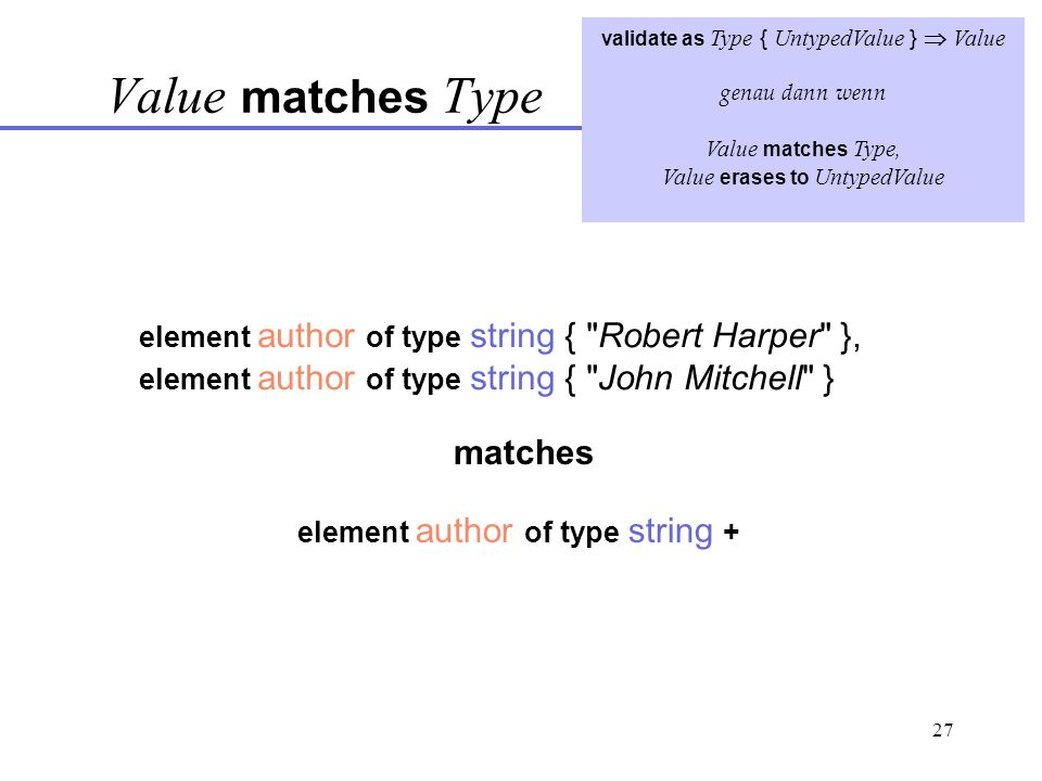 27 validate as Type { UntypedValue } Value genau dann wenn Value matches Type, Value erases to UntypedValue Value matches Type element author of type string { Robert Harper }, element author of type string { John Mitchell } matches element author of type string +