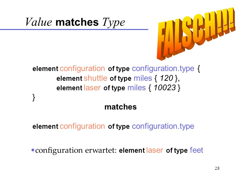 28 element configuration of type configuration.type { element shuttle of type miles { 120 }, element laser of type miles { 10023 } } matches element configuration of type configuration.type Value matches Type configuration erwartet: element laser of type feet