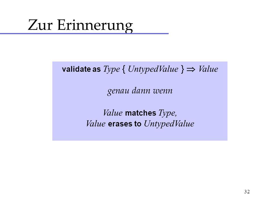 32 Zur Erinnerung validate as Type { UntypedValue } Value genau dann wenn Value matches Type, Value erases to UntypedValue