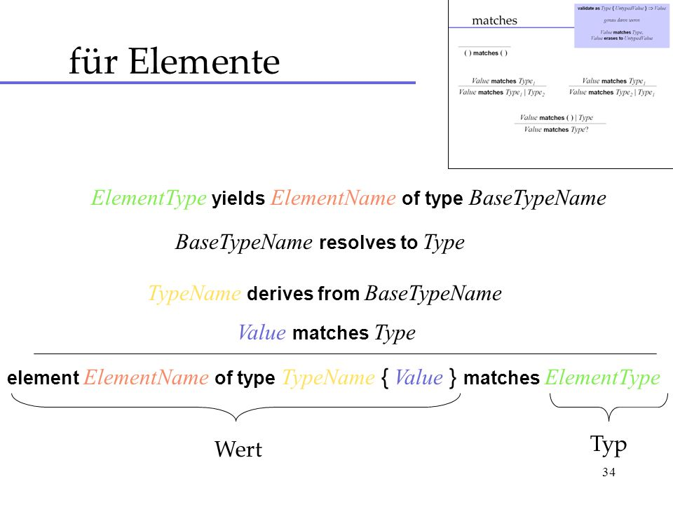 34 für Elemente ElementType yields ElementName of type BaseTypeName BaseTypeName resolves to Type TypeName derives from BaseTypeName Value matches Type element ElementName of type TypeName { Value } matches ElementType Wert Typ