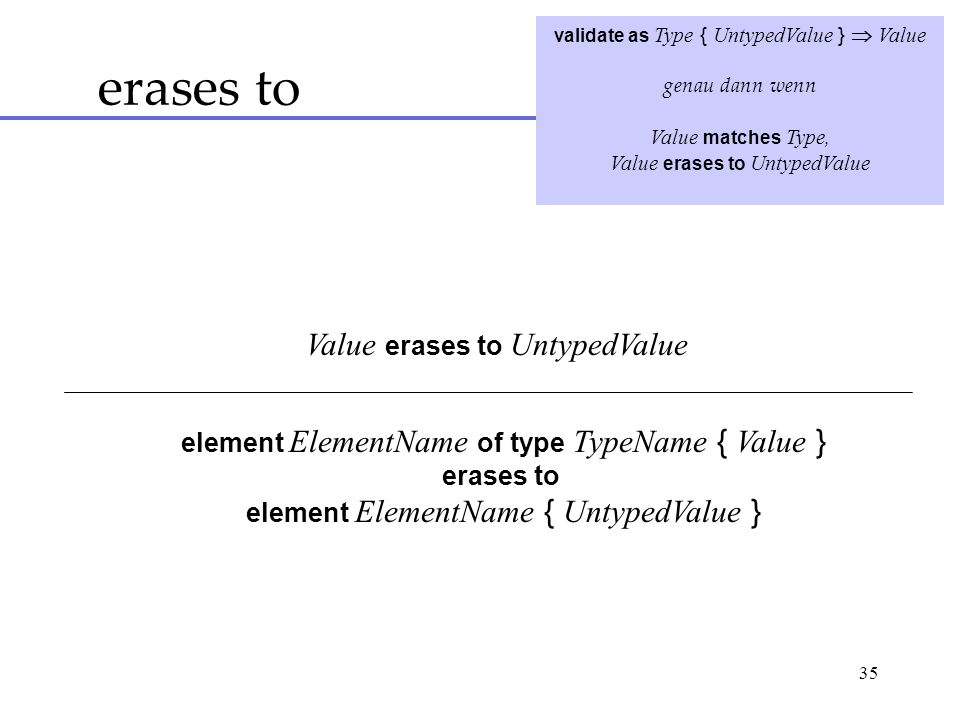 35 erases to validate as Type { UntypedValue } Value genau dann wenn Value matches Type, Value erases to UntypedValue element ElementName of type TypeName { Value } erases to element ElementName { UntypedValue }