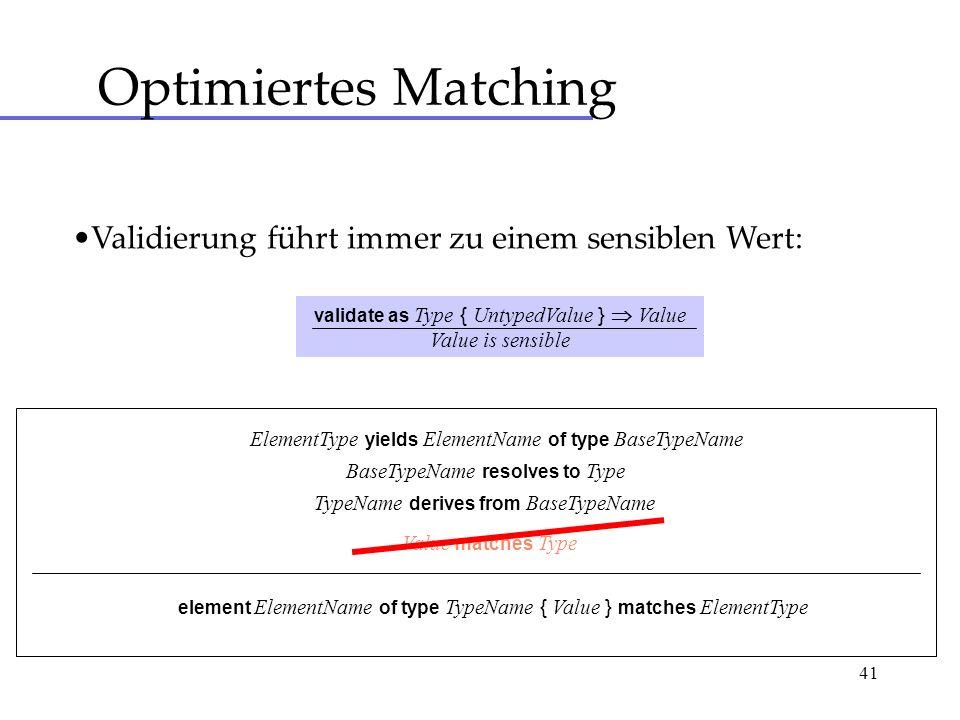 41 Optimiertes Matching Validierung führt immer zu einem sensiblen Wert: validate as Type { UntypedValue } Value Value is sensible ElementType yields ElementName of type BaseTypeName BaseTypeName resolves to Type TypeName derives from BaseTypeName Value matches Type element ElementName of type TypeName { Value } matches ElementType