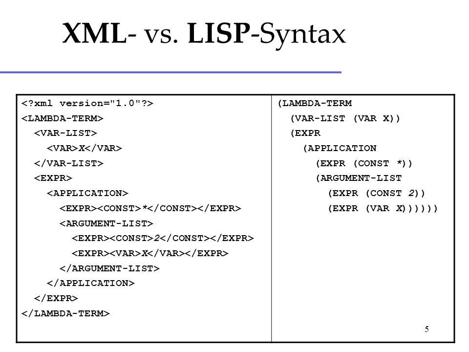 5 X * 2 X (LAMBDA-TERM (VAR-LIST (VAR X)) (EXPR (APPLICATION (EXPR (CONST *)) (ARGUMENT-LIST (EXPR (CONST 2)) (EXPR (VAR X)))))) XML- vs.