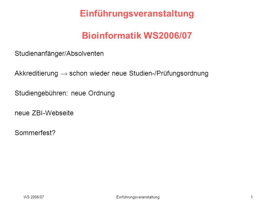 WS 2006/07Einführungsveranstaltung1 Einführungsveranstaltung Bioinformatik WS2006/07 Studienanfänger/Absolventen Akkreditierung schon wieder neue Stud