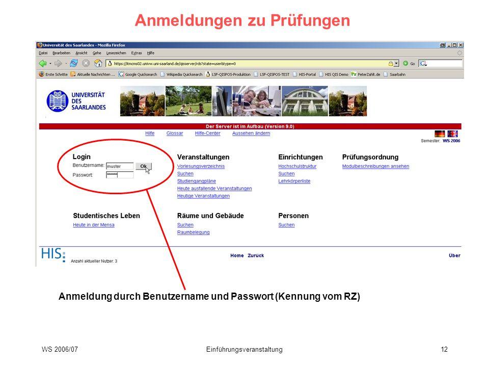 WS 2006/07Einführungsveranstaltung12 Anmeldungen zu Prüfungen Anmeldung durch Benutzername und Passwort (Kennung vom RZ)