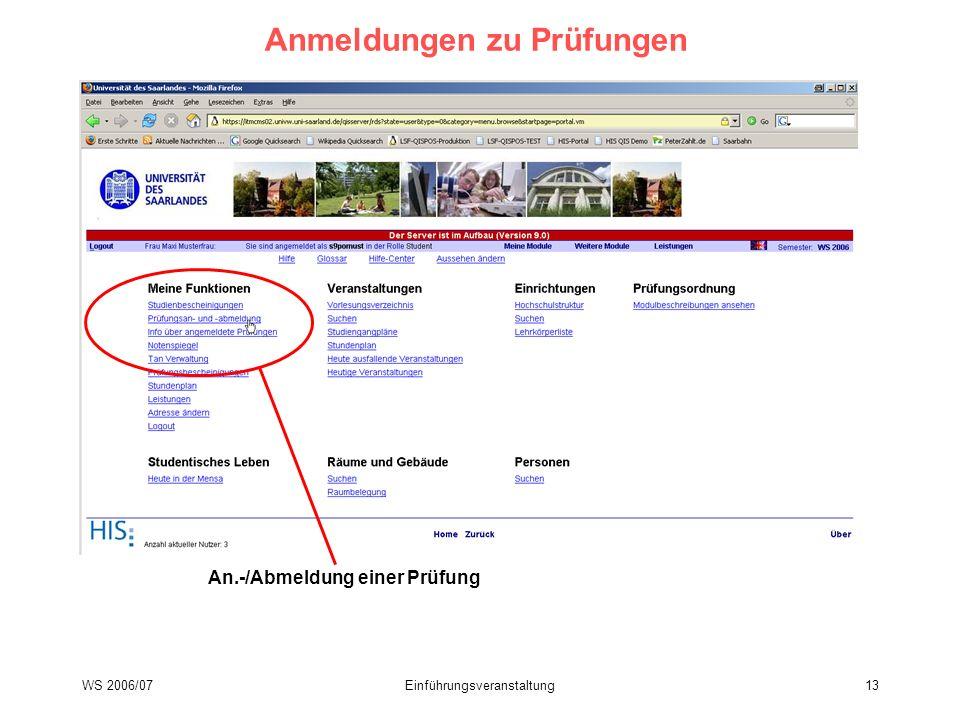 WS 2006/07Einführungsveranstaltung13 Anmeldungen zu Prüfungen An.-/Abmeldung einer Prüfung