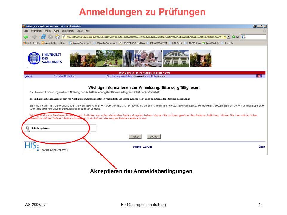 WS 2006/07Einführungsveranstaltung14 Anmeldungen zu Prüfungen Akzeptieren der Anmeldebedingungen