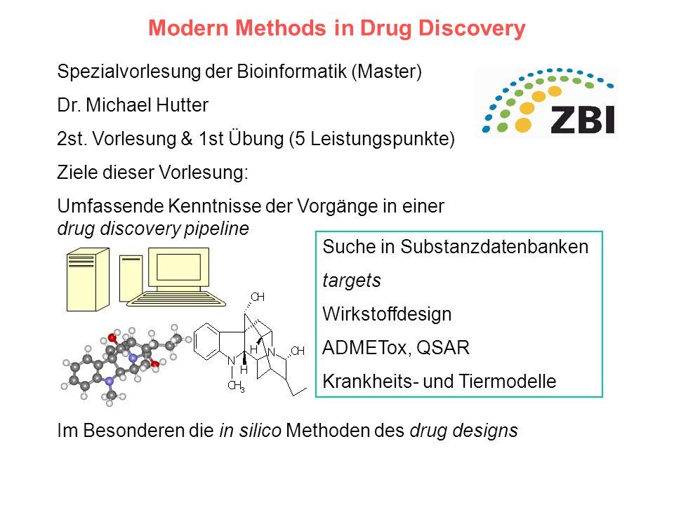 Modern Methods in Drug Discovery Spezialvorlesung der Bioinformatik (Master) Dr. Michael Hutter 2st. Vorlesung & 1st Übung (5 Leistungspunkte) Ziele d
