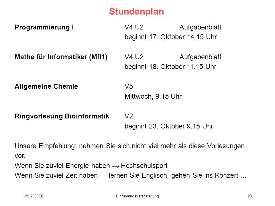 WS 2006/07Einführungsveranstaltung23 Stundenplan Programmierung IV4 Ü2Aufgabenblatt beginnt 17. Oktober 14.15 Uhr Mathe für Informatiker (MfI1)V4 Ü2Au