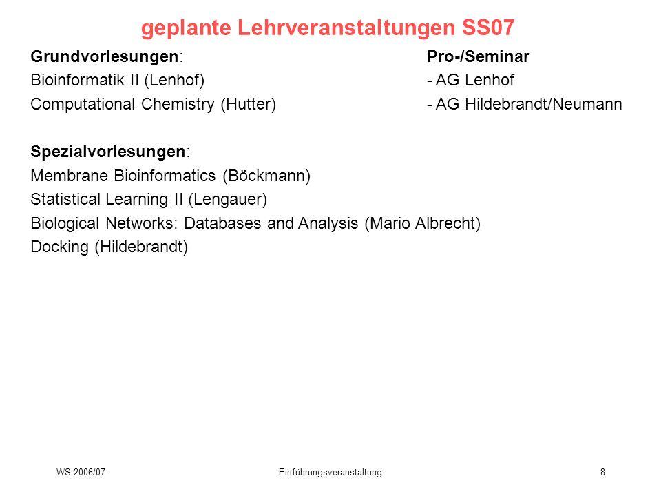 WS 2006/07Einführungsveranstaltung8 geplante Lehrveranstaltungen SS07 Grundvorlesungen:Pro-/Seminar Bioinformatik II (Lenhof)- AG Lenhof Computational