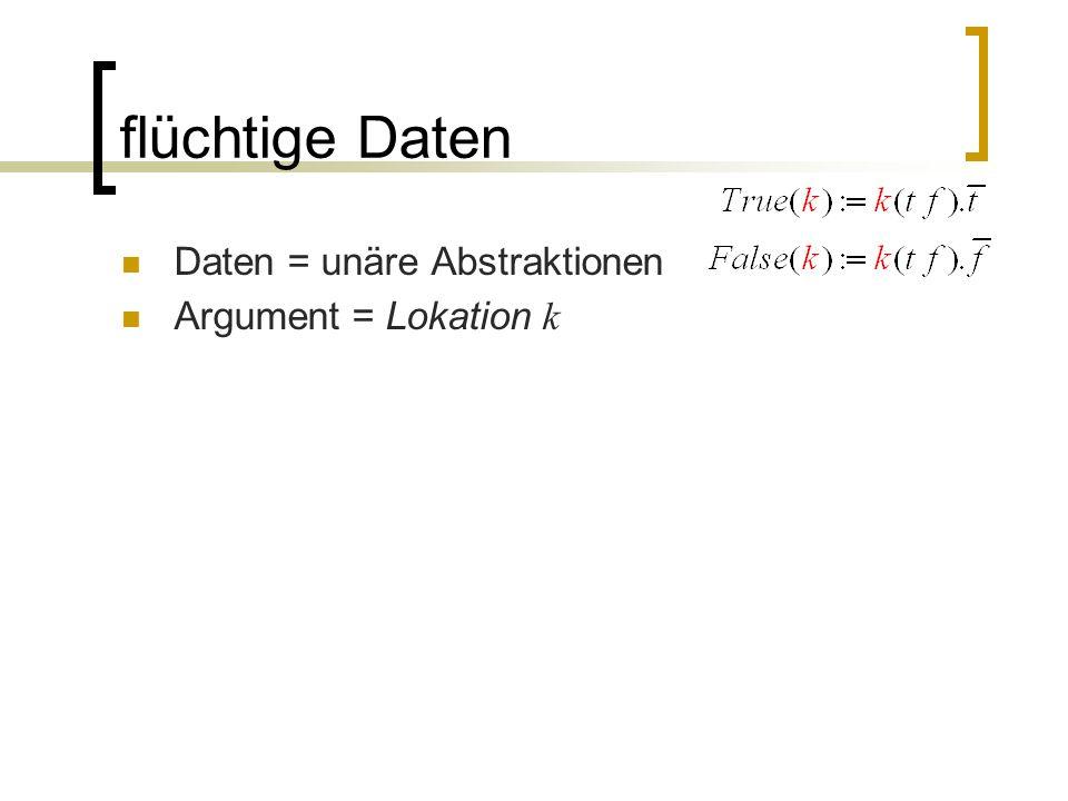 flüchtige Daten Daten = unäre Abstraktionen Argument = Lokation k
