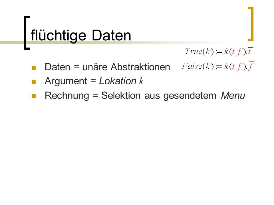 flüchtige Daten Daten = unäre Abstraktionen Argument = Lokation k Rechnung = Selektion aus gesendetem Menu