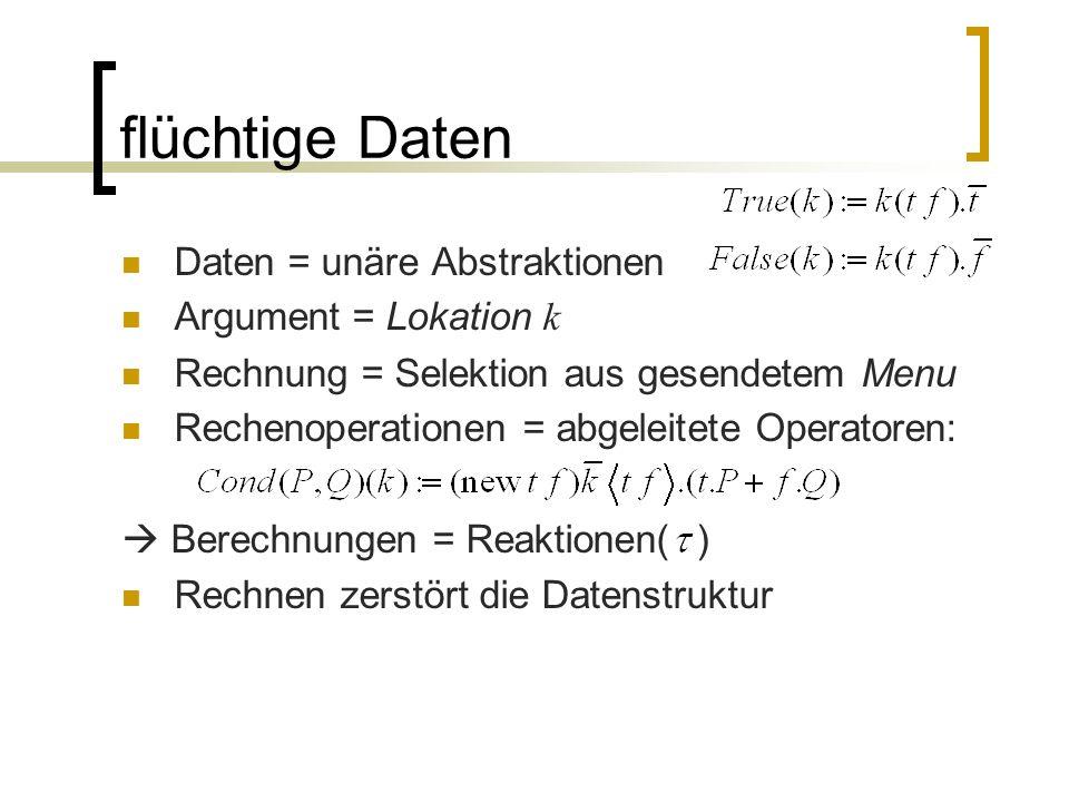 flüchtige Daten Daten = unäre Abstraktionen Argument = Lokation k Rechnung = Selektion aus gesendetem Menu Rechenoperationen = abgeleitete Operatoren: Berechnungen = Reaktionen( ) Rechnen zerstört die Datenstruktur