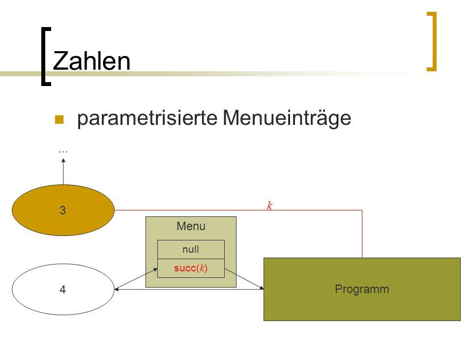 Zahlen parametrisierte Menueinträge 4 Programm Menu succ( k ) null 3 k...