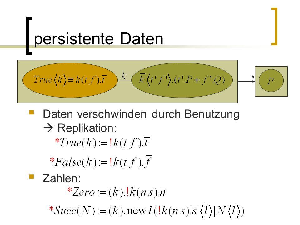 persistente Daten Daten verschwinden durch Benutzung Replikation: Zahlen: *