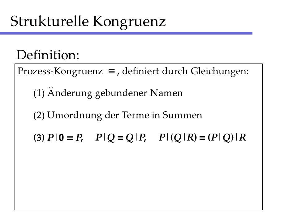 Strukturelle Kongruenz Definition: (1) Änderung gebundener Namen (2) Umordnung der Terme in Summen (3) P| 0 P Prozess-Kongruenz, definiert durch Gleichungen:, P|Q Q|P, P|(Q|R) (P|Q)|R
