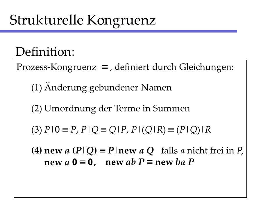 Strukturelle Kongruenz Definition: (1) Änderung gebundener Namen (2) Umordnung der Terme in Summen (3) P| 0 P, P|Q Q|P, P|(Q|R) (P|Q)|R (4) new a (P|Q) P|new a Q falls a nicht frei in P Prozess-Kongruenz, definiert durch Gleichungen:, new ab P new ba P new a 0 0,