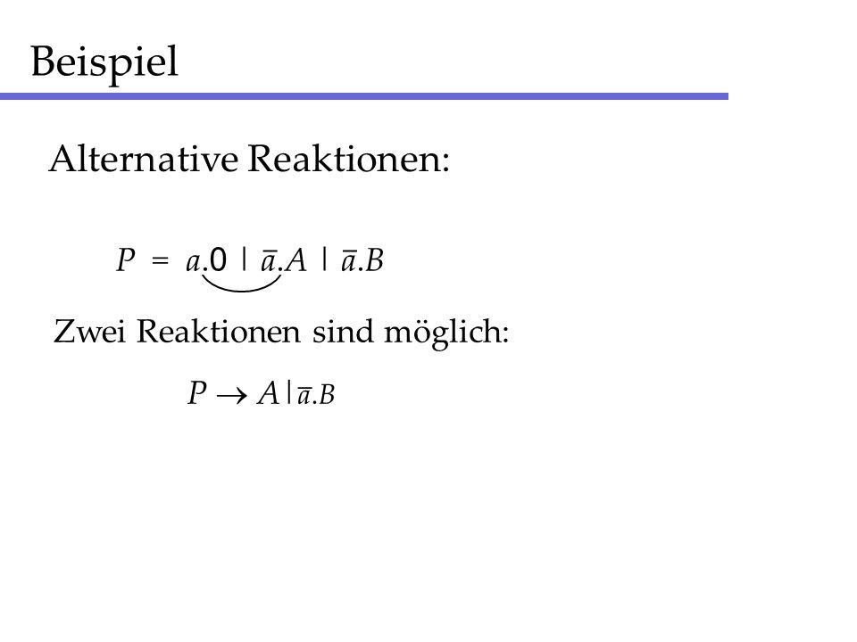 Beispiel Alternative Reaktionen: P = a. 0 | a.A | a.B __ Zwei Reaktionen sind möglich: P A| a.B _