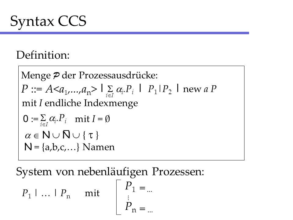 Syntax CCS Definition: P ::= A Menge P der Prozessausdrücke: mit I endliche Indexmenge i I | i.P i 0 := mit I = 0 i I i.P i N N { } N = {a,b,c,…} Namen _ | P 1 |P 2 | new a P System von nebenläufigen Prozessen: P 1 | … | P n mit P 1...