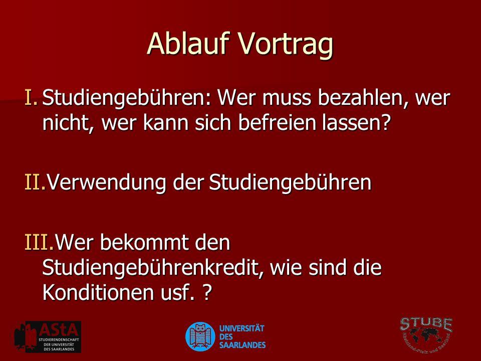 Ablauf Vortrag I.Studiengebühren: Wer muss bezahlen, wer nicht, wer kann sich befreien lassen.