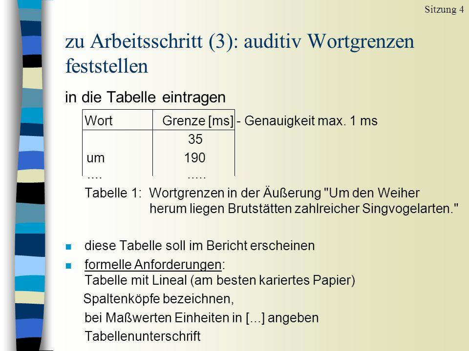 zu Arbeitsschritt (3): auditiv Wortgrenzen feststellen in die Tabelle eintragen Wort Grenze [ms] - Genauigkeit max. 1 ms 35 um 190......... Tabelle 1: