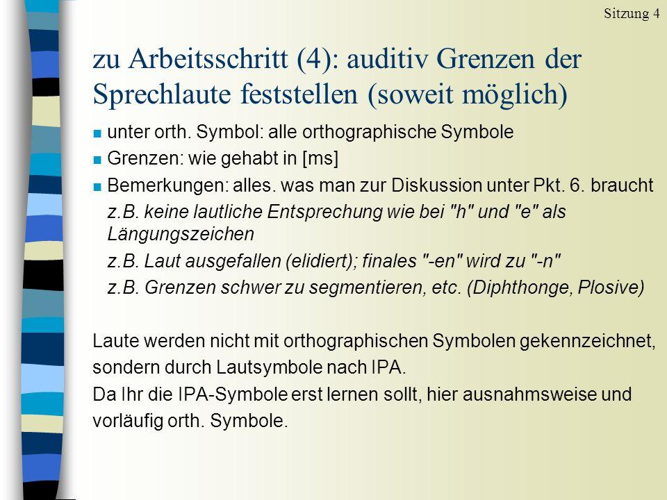 zu Arbeitsschritt (4): auditiv Grenzen der Sprechlaute feststellen (soweit möglich) n unter orth. Symbol: alle orthographische Symbole n Grenzen: wie