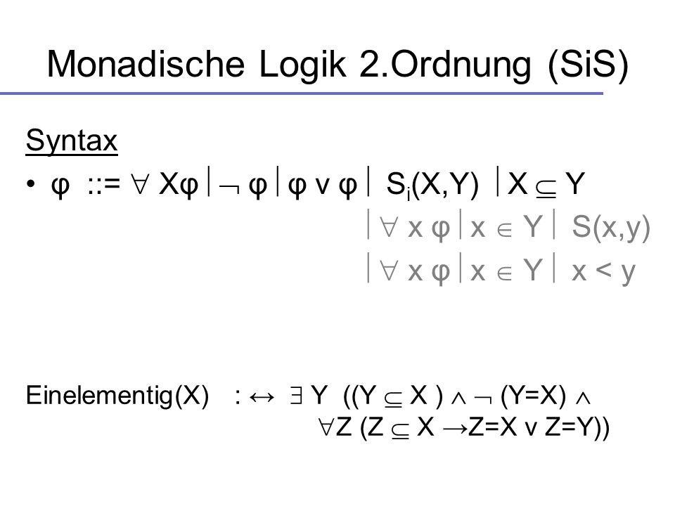 Monadische Logik 2.Ordnung (SiS) Syntax φ ::= Xφ φ φ v φ S i (X,Y) X Y x φ x Y S(x,y) x φ x Y x < y Einelementig(X) : Y ((Y X ) (Y=X) Z (Z X Z=X v Z=Y