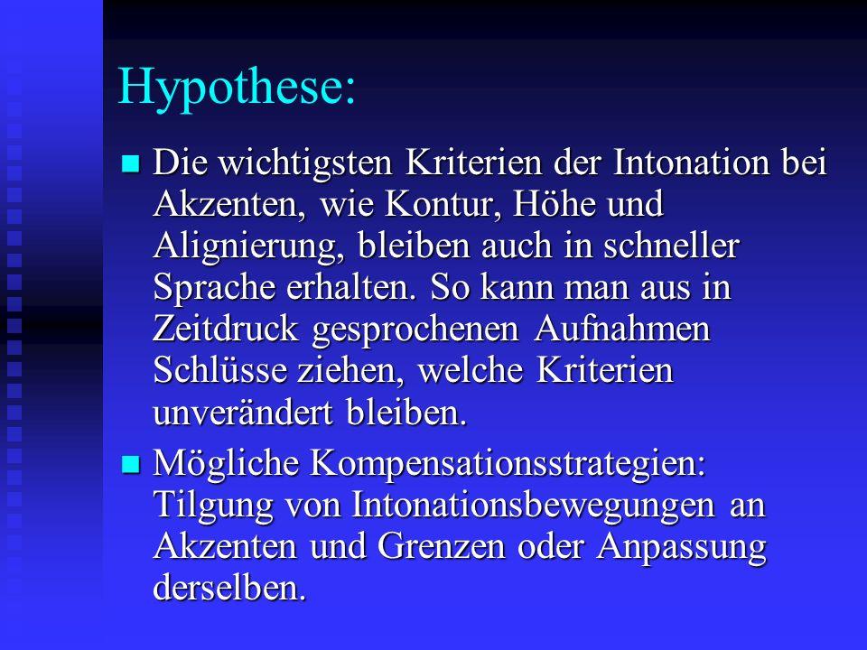 Hypothese: Die wichtigsten Kriterien der Intonation bei Akzenten, wie Kontur, Höhe und Alignierung, bleiben auch in schneller Sprache erhalten.