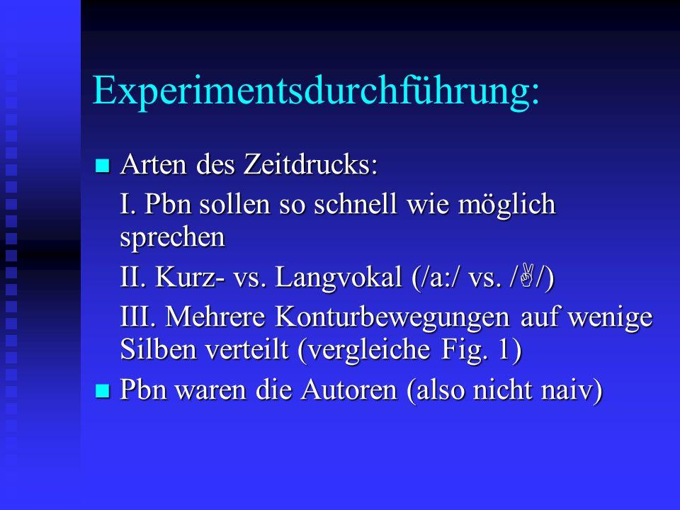 Experimentsdurchführung: Arten des Zeitdrucks: Arten des Zeitdrucks: I.