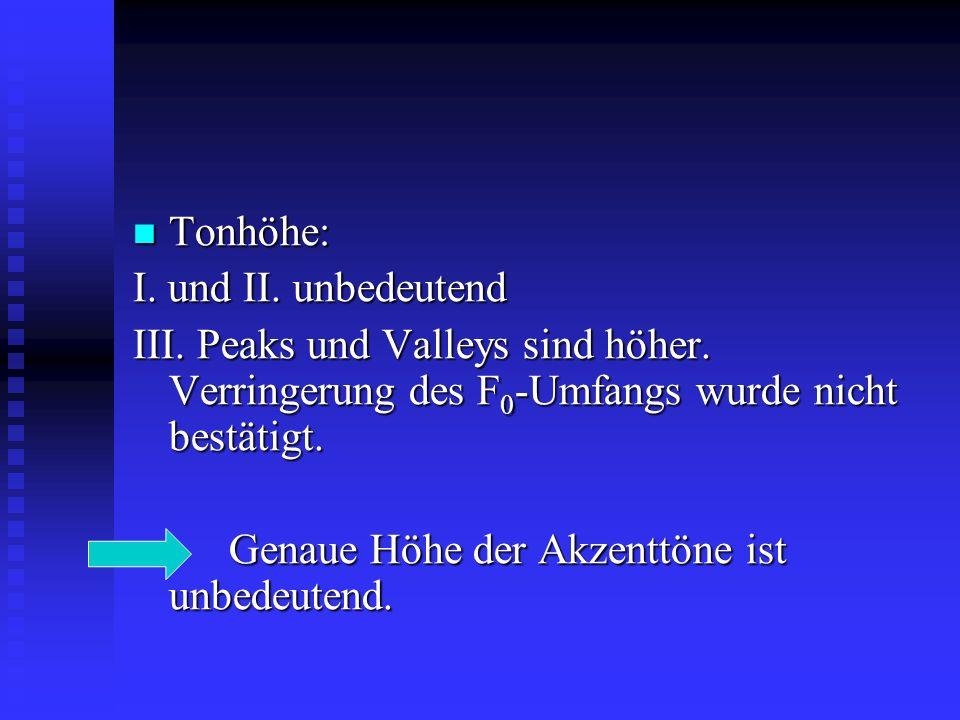 Tonhöhe: Tonhöhe: I.und II. unbedeutend III. Peaks und Valleys sind höher.