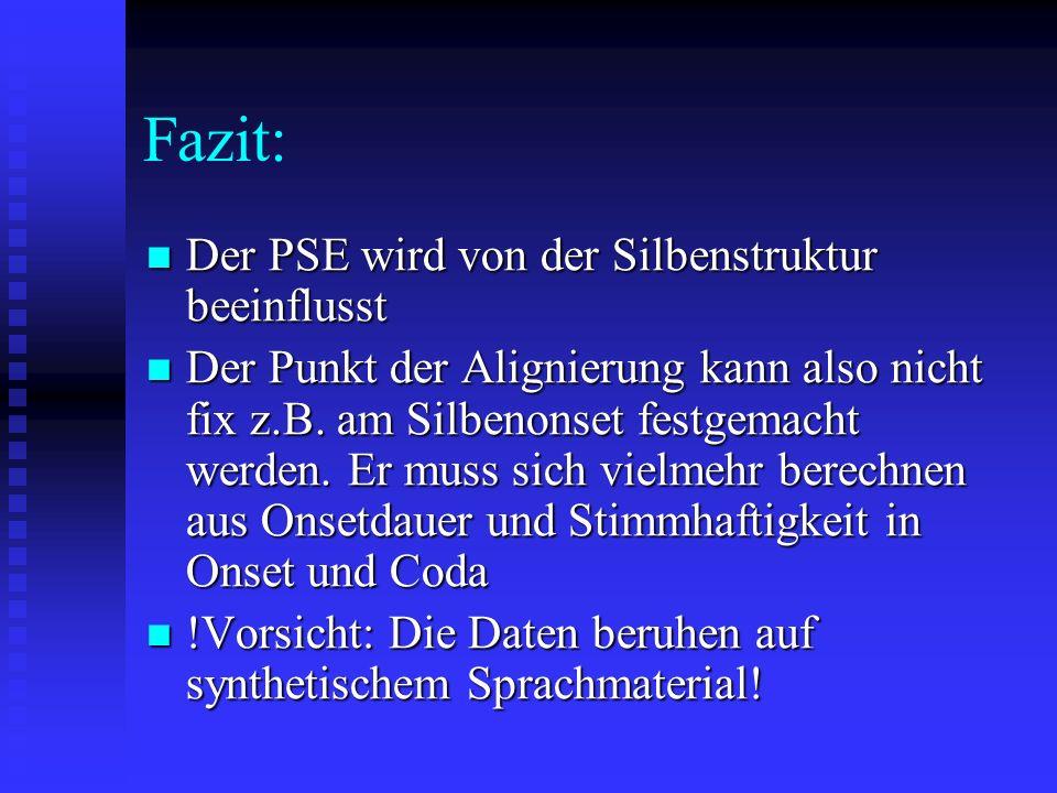Fazit: Der PSE wird von der Silbenstruktur beeinflusst Der PSE wird von der Silbenstruktur beeinflusst Der Punkt der Alignierung kann also nicht fix z.B.