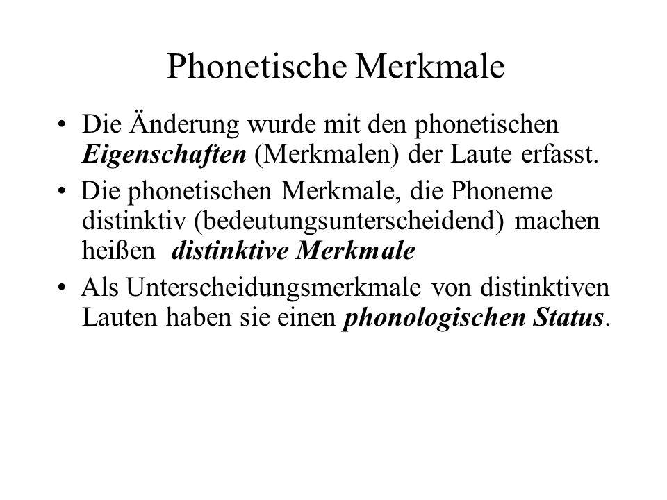 Phonetische Merkmale Die Änderung wurde mit den phonetischen Eigenschaften (Merkmalen) der Laute erfasst. Die phonetischen Merkmale, die Phoneme disti