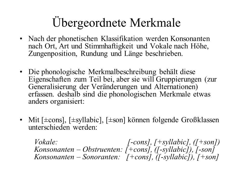 Übergeordnete Merkmale Nach der phonetischen Klassifikation werden Konsonanten nach Ort, Art und Stimmhaftigkeit und Vokale nach Höhe, Zungenposition,