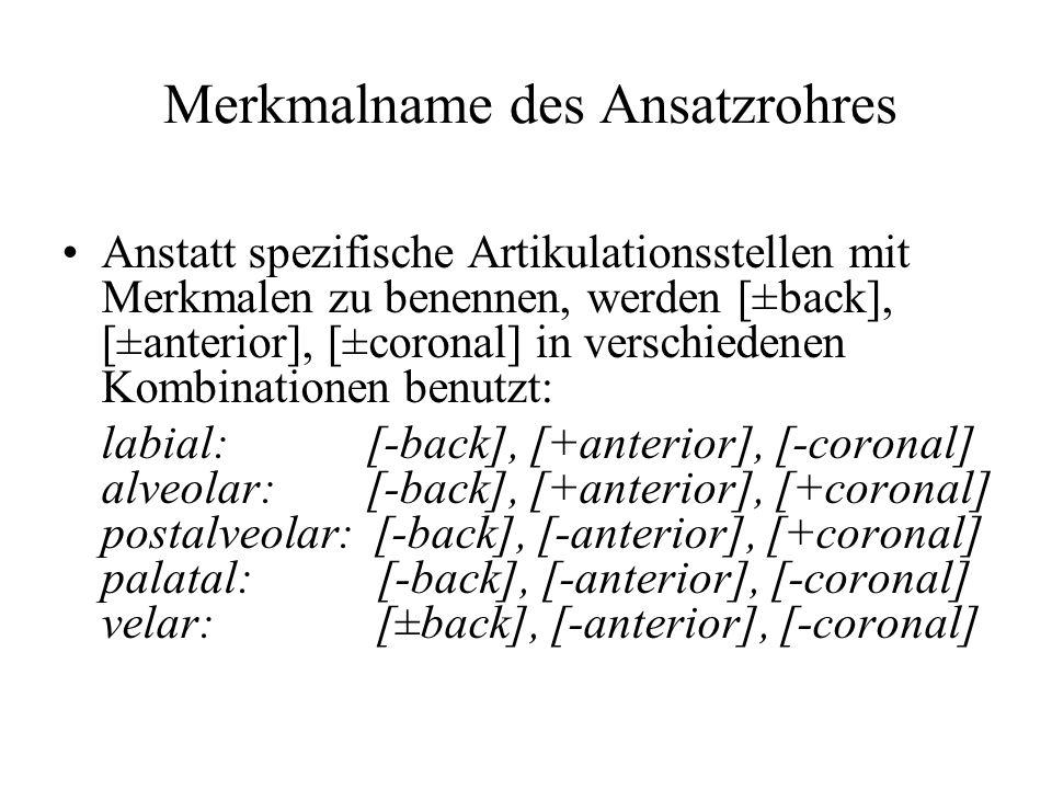 Anstatt spezifische Artikulationsstellen mit Merkmalen zu benennen, werden [±back], [±anterior], [±coronal] in verschiedenen Kombinationen benutzt: la