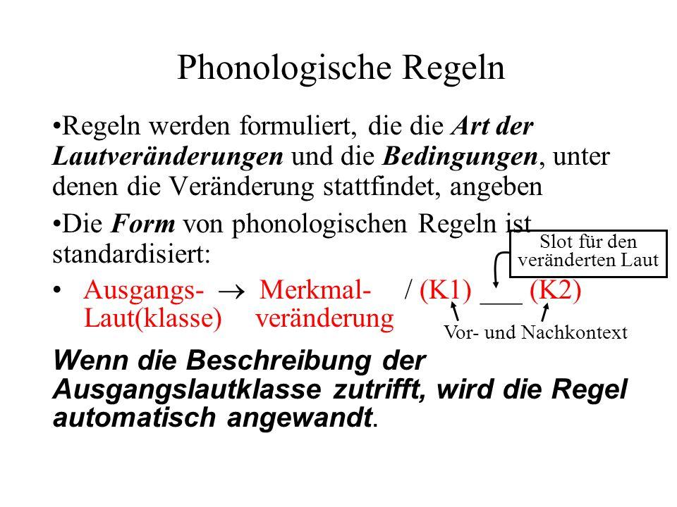 Phonologische Regeln Regeln werden formuliert, die die Art der Lautveränderungen und die Bedingungen, unter denen die Veränderung stattfindet, angeben