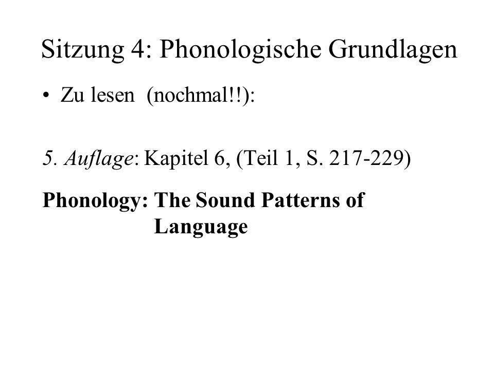 Sitzung 4: Phonologische Grundlagen Zu lesen (nochmal!!): 5. Auflage: Kapitel 6, (Teil 1, S. 217-229) Phonology: The Sound Patterns of Language