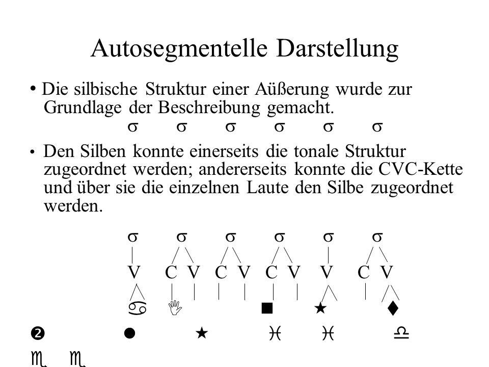 Autosegmentelle Darstellung Die silbische Struktur einer Aüßerung wurde zur Grundlage der Beschreibung gemacht. Den Silben konnte einerseits die tonal