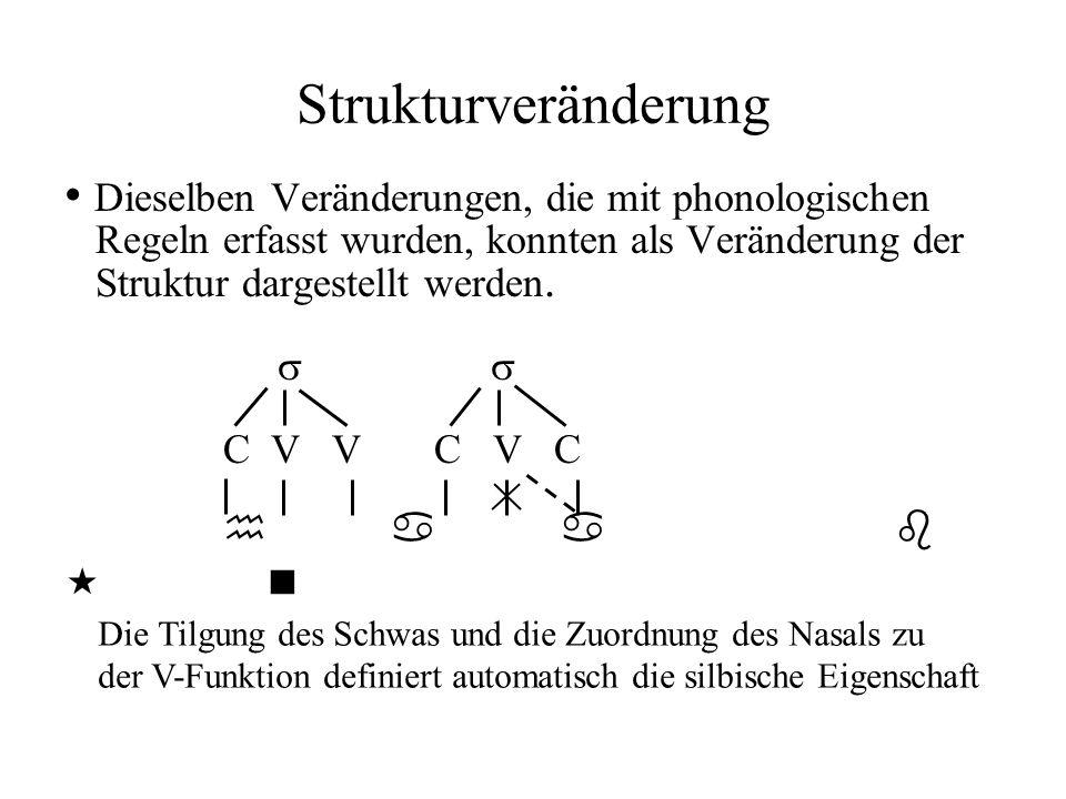 Strukturveränderung Dieselben Veränderungen, die mit phonologischen Regeln erfasst wurden, konnten als Veränderung der Struktur dargestellt werden. C