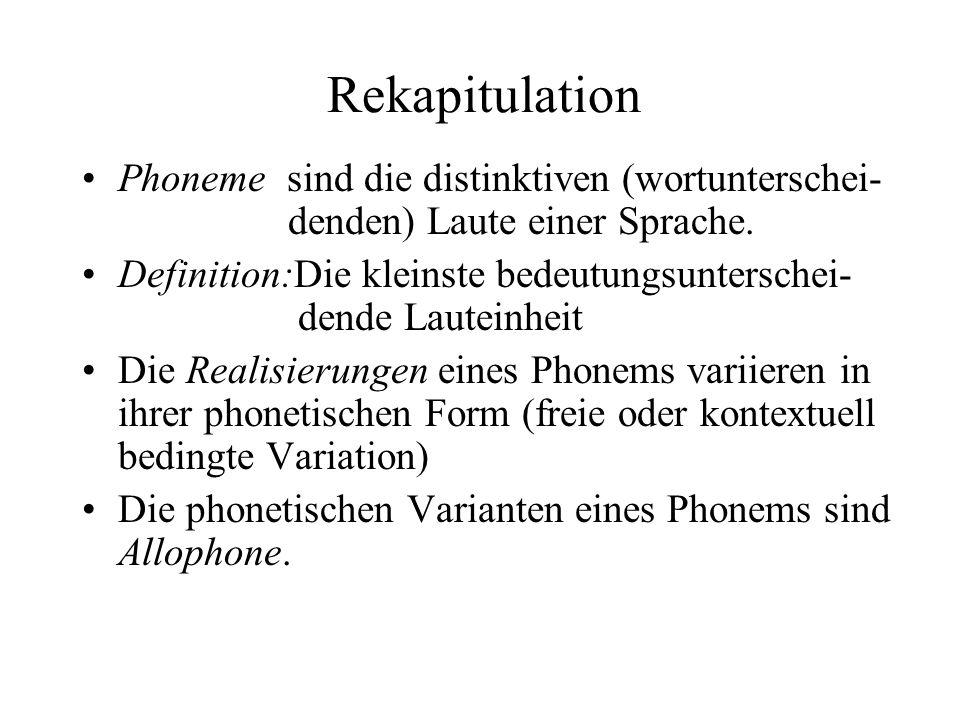 Phonologische Regeln Regeln werden formuliert, die die Art der Lautveränderungen und die Bedingungen, unter denen die Veränderung stattfindet, angeben Die Form von phonologischen Regeln ist standardisiert: Ausgangs- Merkmal- / (K1) ___ (K2) Laut(klasse)veränderung Wenn die Beschreibung der Ausgangslautklasse zutrifft, wird die Regel automatisch angewandt.