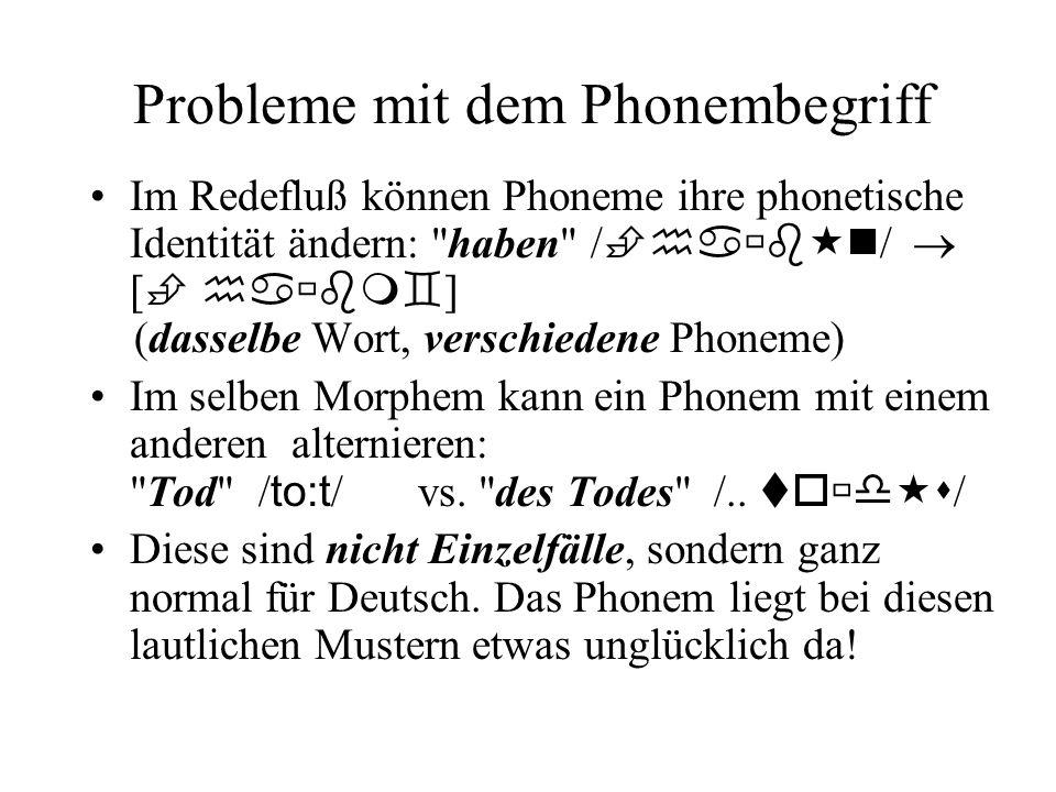 Probleme mit dem Phonembegriff Im Redefluß können Phoneme ihre phonetische Identität ändern: