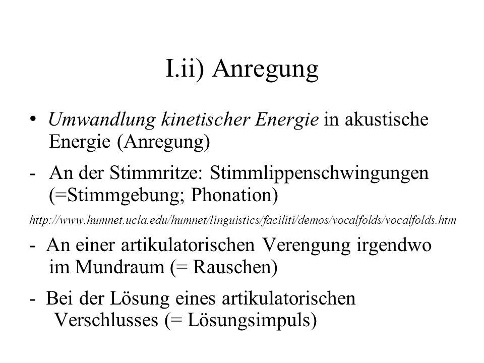 I.ii) Anregung Umwandlung kinetischer Energie in akustische Energie (Anregung) -An der Stimmritze: Stimmlippenschwingungen (=Stimmgebung; Phonation) h