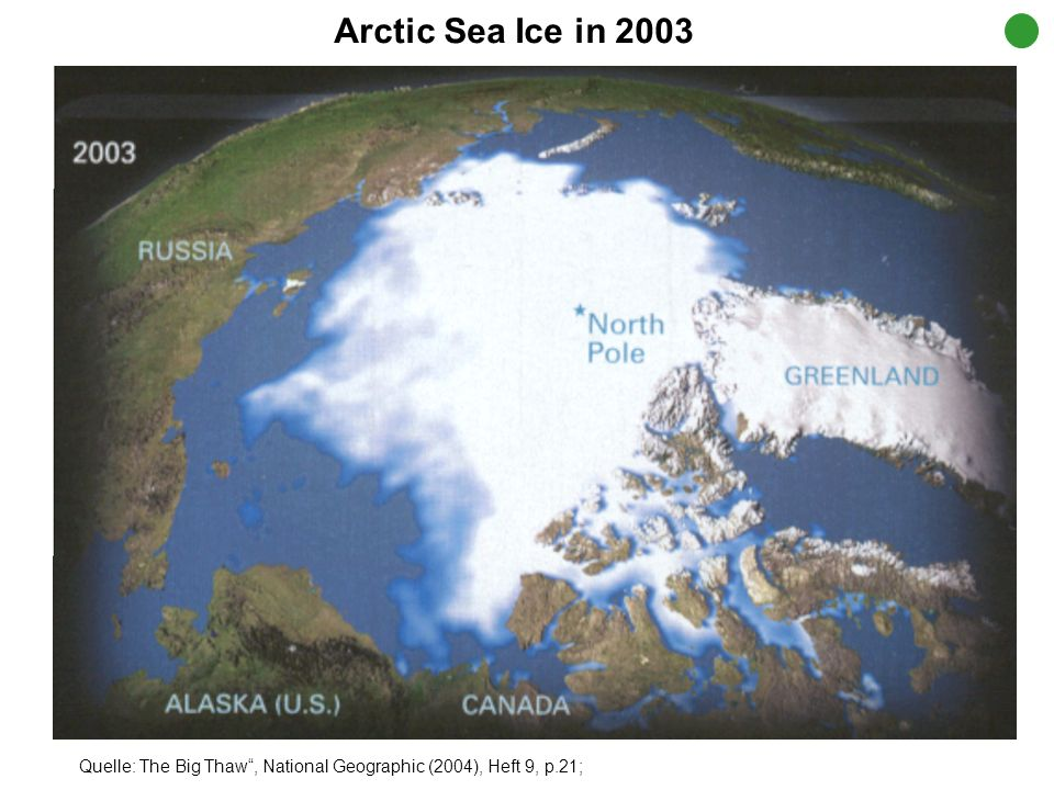 Quelle: The Big Thaw, National Geographic (2004), Heft 9, p.21; Arctic Sea Ice Melting since 1979 1.352 Arktisches Eis