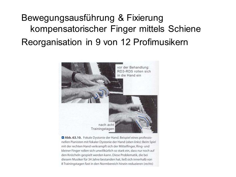 Bewegungsausführung & Fixierung kompensatorischer Finger mittels Schiene Reorganisation in 9 von 12 Profimusikern