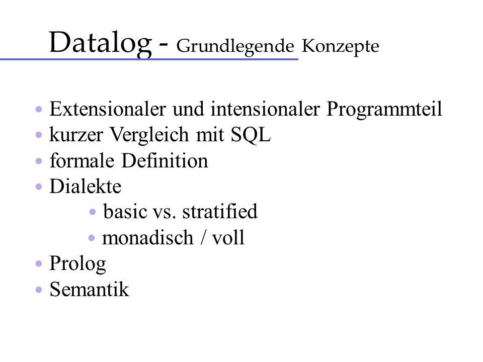 Datalog - Grundlegende Konzepte Extensionaler und intensionaler Programmteil kurzer Vergleich mit SQL formale Definition Dialekte basic vs. stratified