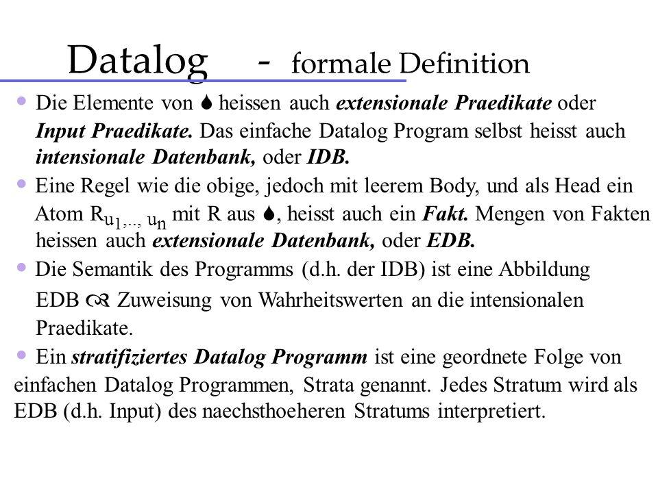 Datalog - formale Definition Die Elemente von heissen auch extensionale Praedikate oder Input Praedikate. Das einfache Datalog Program selbst heisst a