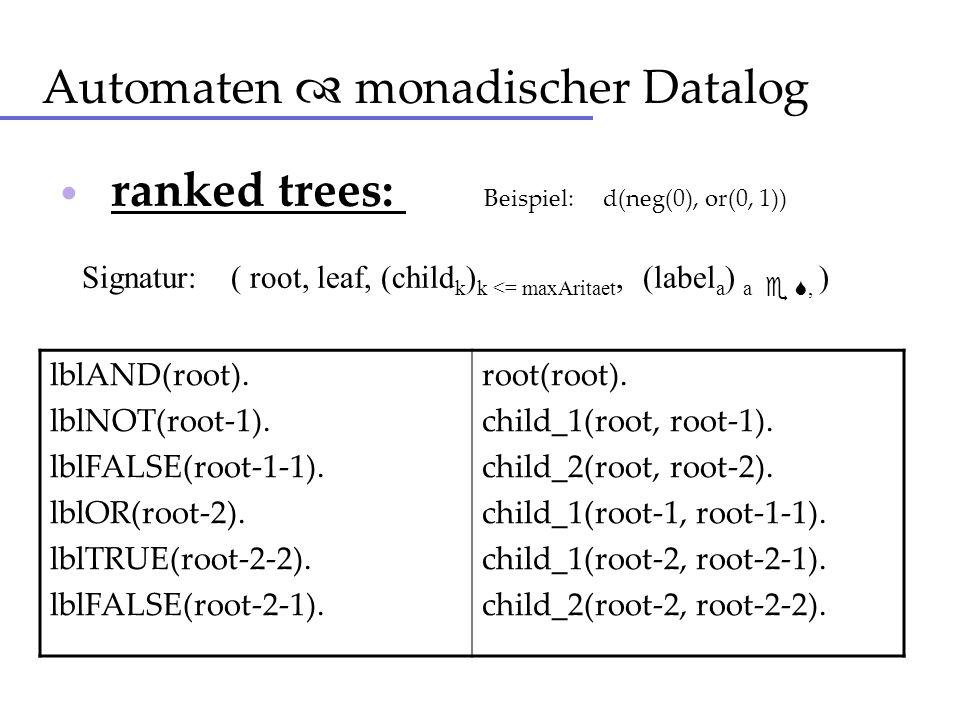 Automaten monadischer Datalog ranked trees: Beispiel: d(neg(0), or(0, 1)) Signatur: ( root, leaf, (child k ) k <= maxAritaet, (label a ) a, ) lblAND(r