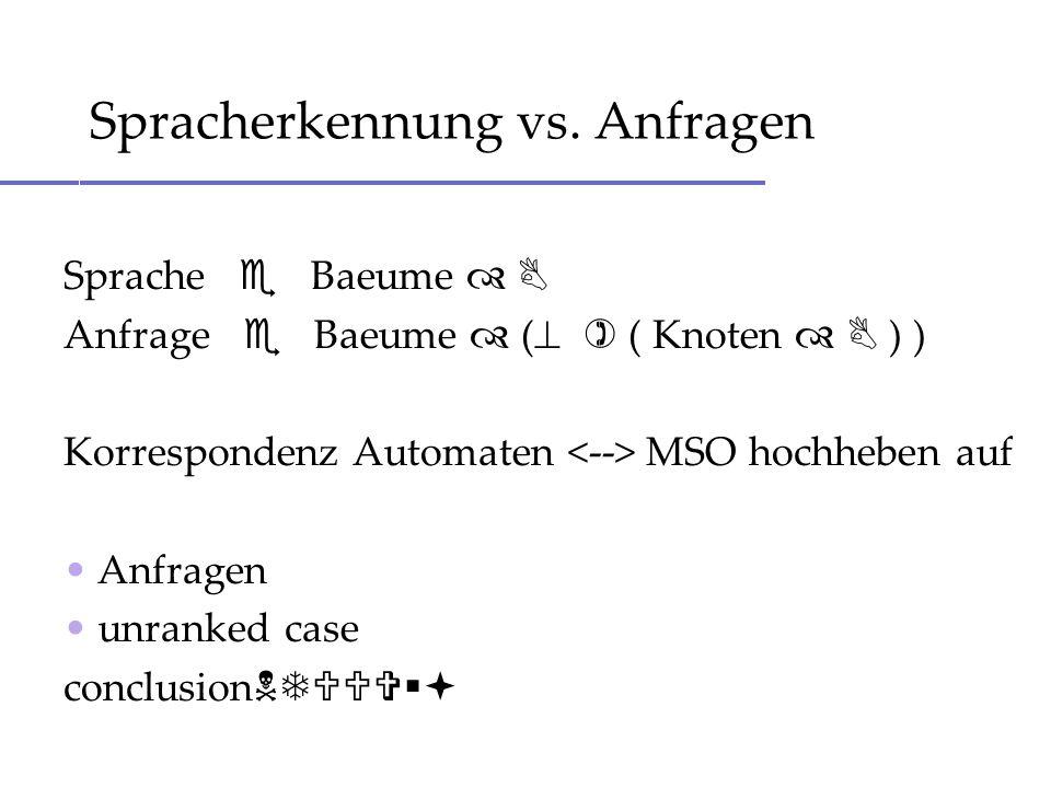 Sprache Baeume Anfrage Baeume ( ( Knoten ) ) Korrespondenz Automaten MSO hochheben auf Anfragen unranked case conclusion Spracherkennung vs. Anfragen