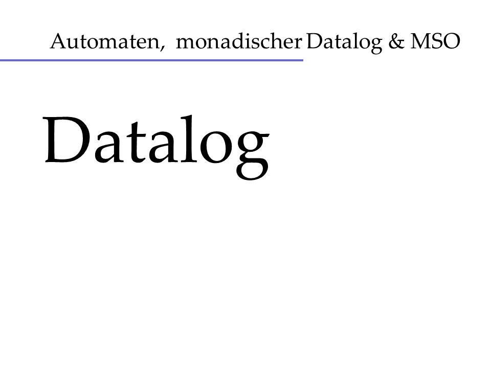 Datalog - Semantik Erste Wahl: Kleinster Fixpunkt (Perfect Model) Existiert fuer einfaches Datalog Im stratified Fall Semantik hierarchisch / schrittweise; kleinster Fixpunkt existiert nicht.