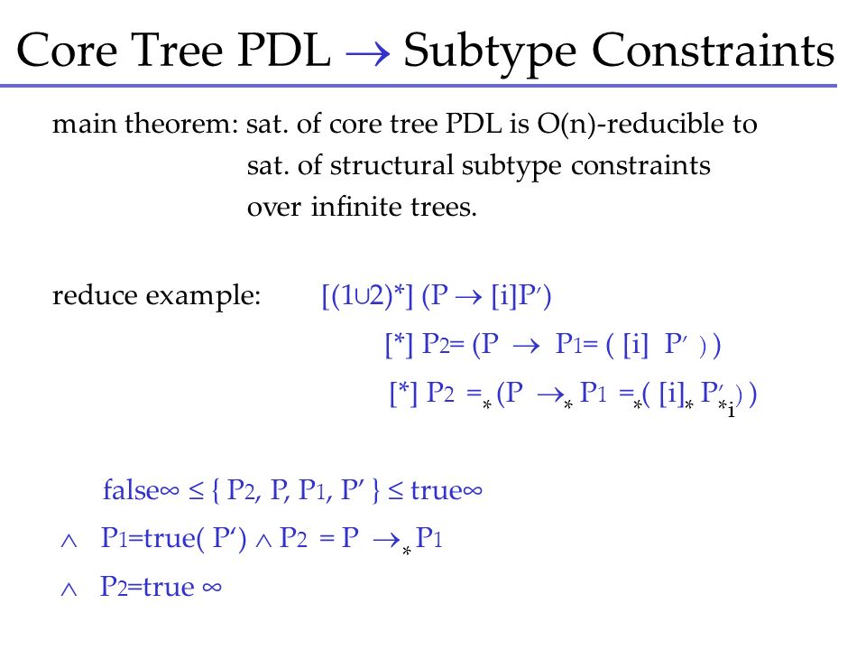 Core Tree PDL Subtype Constraints main theorem: sat. of core tree PDL is O(n)-reducible to sat. of structural subtype constraints over infinite trees.