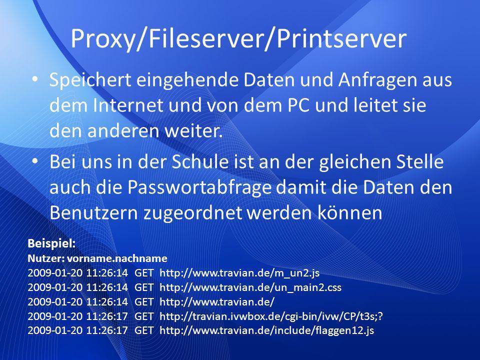 Proxy/Fileserver/Printserver Speichert eingehende Daten und Anfragen aus dem Internet und von dem PC und leitet sie den anderen weiter. Bei uns in der
